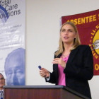 Terri White, director of the Oklahoma Department of Mental Health, speaks at a conference on addiction in June.