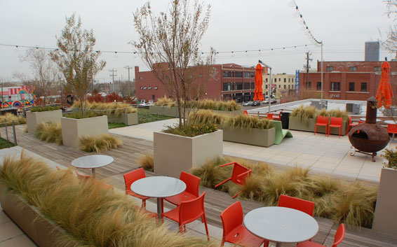This roof garden sits atop the Rawhide clothing store, located in a one-story building connected to the Allied Arts center. The garden, which faces Automobile Alley, was built using the Historical Preservation Tax Credit and is open to the public.