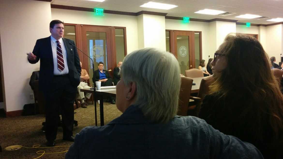 East Central University professor Michael Copeland speaks to members of the Oklahoma House Judiciary Committee Tuesday.