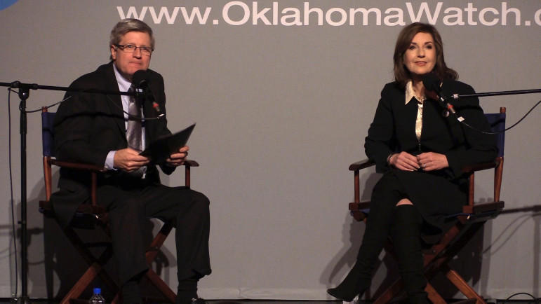 "Superintendent of Public Instruction Joy Hofmeister fielded questions from Oklahoma Watch Executive Editor David Fritze and audience members at an ""Oklahoma Watch-Out"" forum on March 3."
