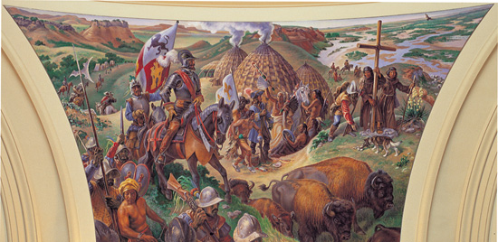 This panel, depicting the discovery of Oklahoma by Spanish Conquistadors, shows missionaries carrying a large Christian Cross. Such artwork could be challenged legally, according to a state representative.