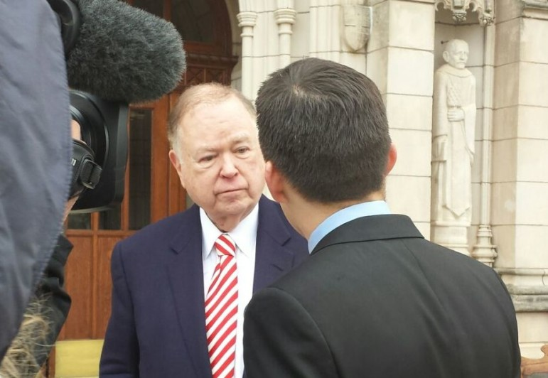David Boren at an OU press conference. Boren seeks passage of a statewide penny sales tax to fund education.