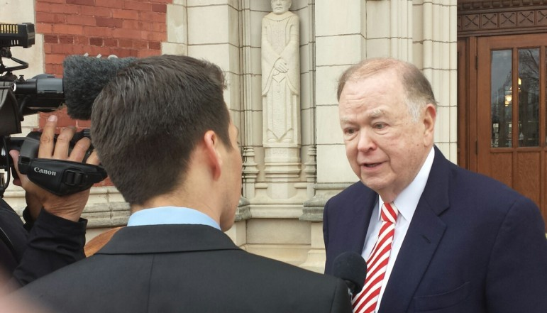 University of Oklahoma President David Boren, shown here during a press conference earlier this year, is calling for a statewide penny sales tax for education.
