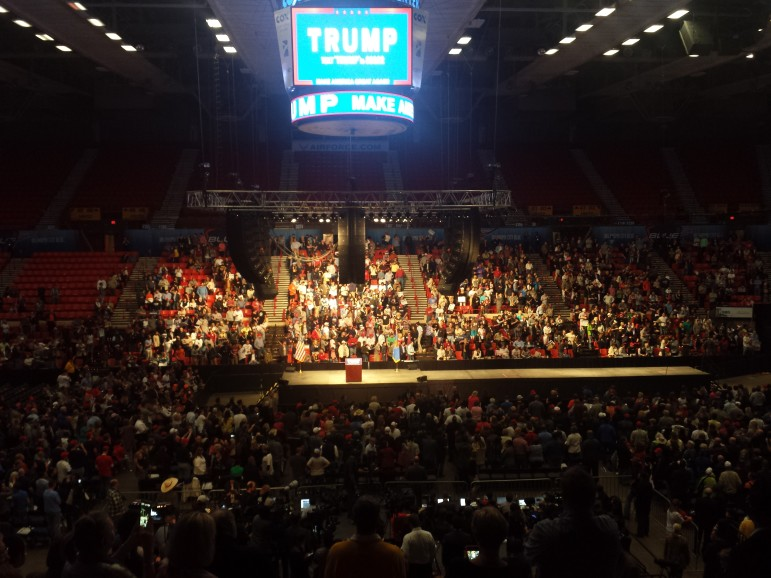 The Trump rally at Oklahoma City's downtown Cox Convention Center drew as man as 7,000 supporters.