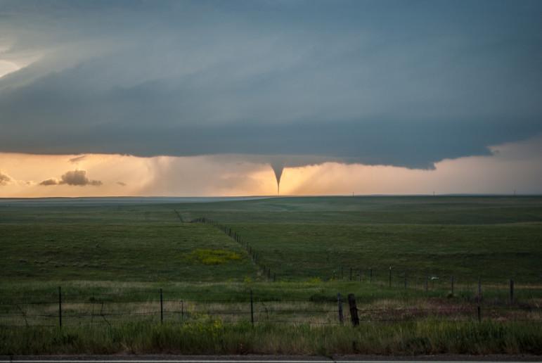 A tornado over the plains of Oklahoma.