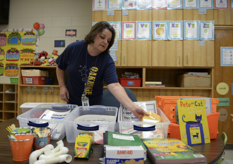 Laura Childress, a kindergarten teacher at Oakridge Elementary in Oklahoma City, spends about $500 a year on her classroom. Her mother helps her out by buying supplies and decorations.