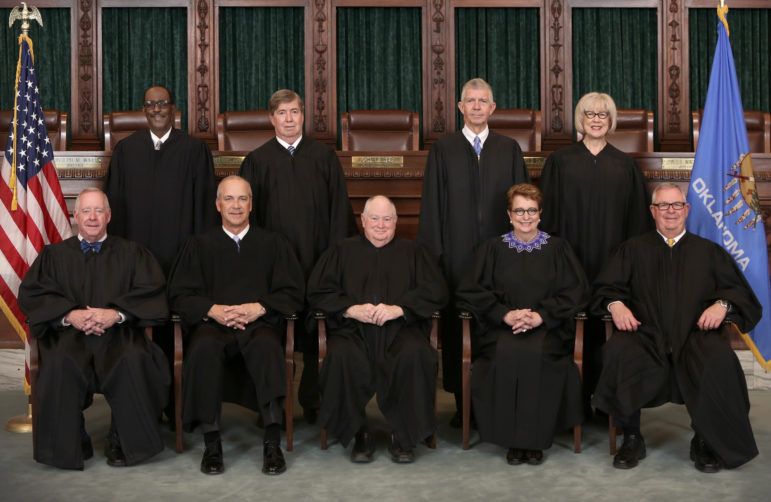 The Oklahoma Supreme Court has jurisdiction only over civil matters, while the Court of Criminal Appeals rules on criminal cases. Supreme Court justices: (top row, from left) Tom Colbert, James Edmondson, Steven Taylor and Norma Gurich, and (bottom row, from left) Joseph Watt, Douglas Combs, John Reif, Yvonne Kauger and James Winchester.
