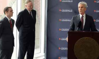 Henry Heuser Jr. and University of Louisville President James Ramsey announce a $3 million dollar pledge for scholarships in January 2013.
