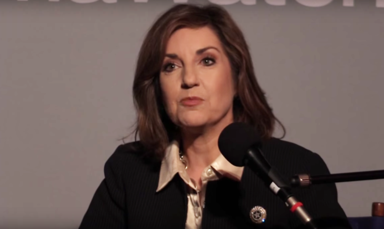 Superintendent Joy Hofmeister at an Oklahoma Watch-Out forum in 2015.
