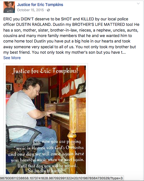 "A posting on the Facebook page, ""Justice for Eric Tompkins,"" with a photo of Tompkins."