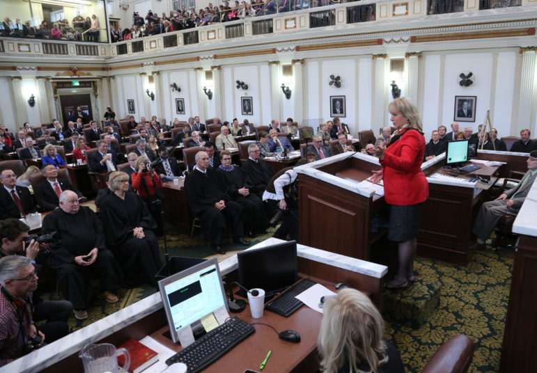 Gov. Mary Fallin delivers her State of the State address to a joint session of House and Senate members.